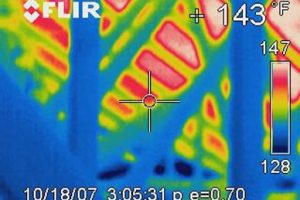 Picture of a thermal image showing hot and cold in an attic