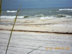 An oil smeared Pensacola Beach