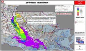 The Corps of Engineers has established an inundation map