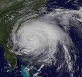 Hurricane Irene off the coast of the Carolinas, Aug 26, 2011