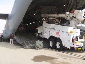 Equipment arriving for Hurricane Sandy restoration
