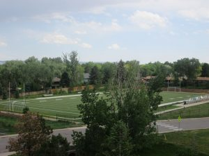 The above picture shows the football field where the bleachers were overturned by the windstorm