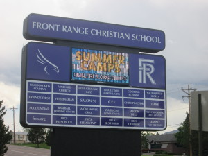 The above picture is of the scoreboard at Front Range Christian School