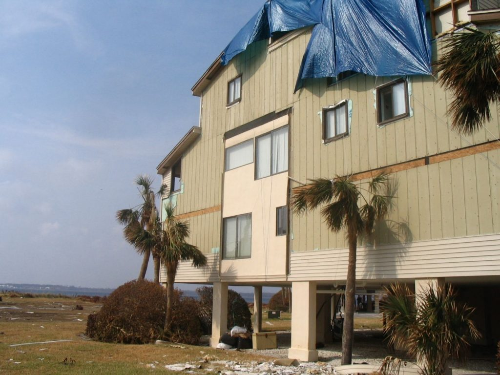 Hurricane Ivan damaged condos in Pensacola Beach, FL